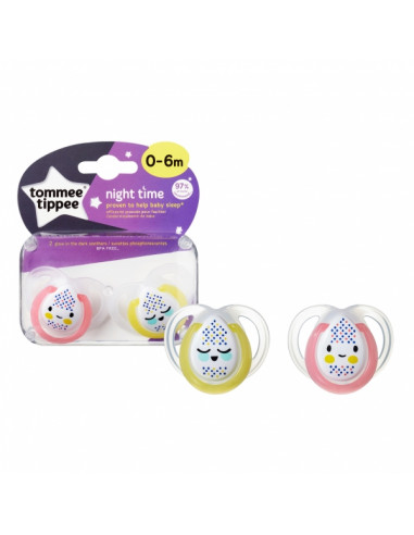 Tommee Tippee Silicone succhietto 0-6 m Night Time (2 u.)