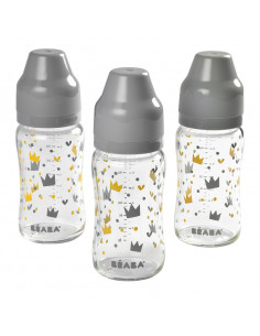 Beaba Set 3 Biberons verre col large 240ml Crown