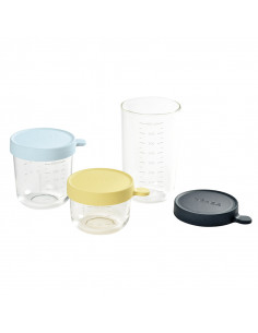 Beaba Coffret 3 Portions verre Pots conservation Bleu