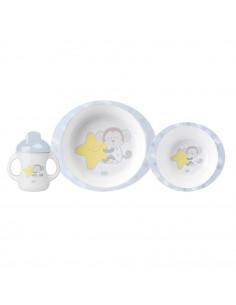 """Set vaisselle bébé """"Monkey Party"""" Saro - 3 pièces - micro-ondes"""