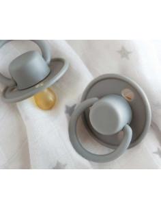 Chupeta Retro em cinzento com tetina de látex de Kiokids