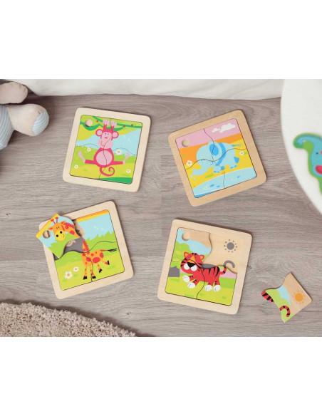 Puzzle di animali della giungla dei Kiokids, giocattolo di legno