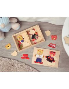 Ursos Puzzle, brinquedo de madeira de Kiokids