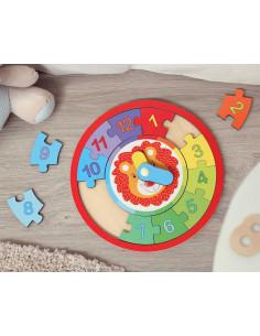 Puzzle o relógio dos Kiokids, brinquedo de madeira