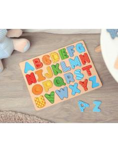 Puzzle alfabeto dei Kiokids, giocattolo di legno