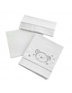 Kit 3 pezzi lenzuoli lettino Sweet bear Micuna.