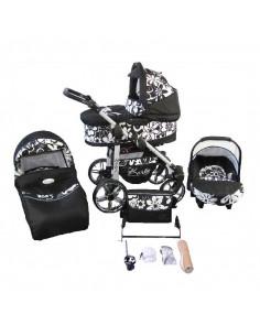 Carrinho Trio Hubi, com alcofa, cadeira auto e acessórios